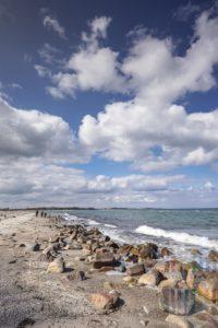 Große und verschiedene Steine liegen an einem naturbelassenen Strand an der Ostseeküste nahe Maasholm. Hier lassen sich nach Stürmen Bernsteine und Versteinerungen finden