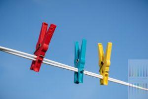 Drei Wäscheklammern in den Farben Rot, Blau und Gelb klemmen an einer weißen Wäscheleine vor wolkenlos blauem Himmel